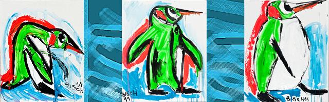 3 pingouins vert fluo en province